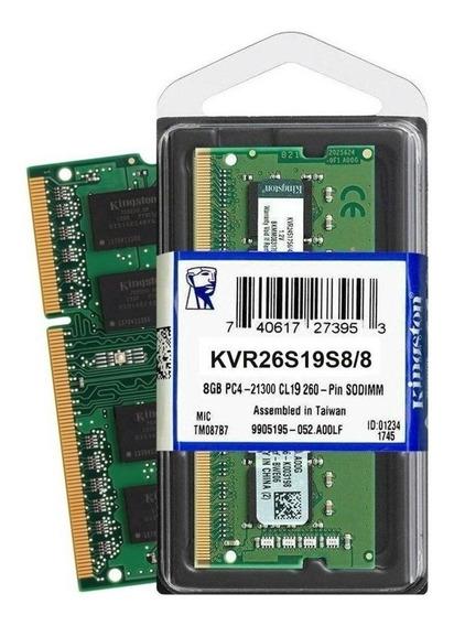Memória RAM 8GB 1x8GB Kingston KVR26S19S8/8