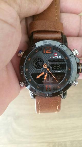 Relógio Masculino Naviforce Esportivo Militar Pulseira Couro M 9134