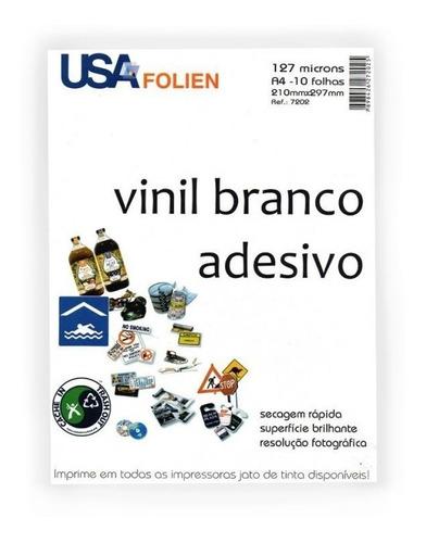 Papel Vinil Branco Adesivo Para Impressão A4 10 Folhas Usa