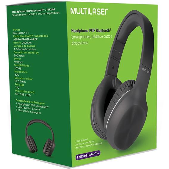 Fone Bluetooth Pop Preto - Ph246