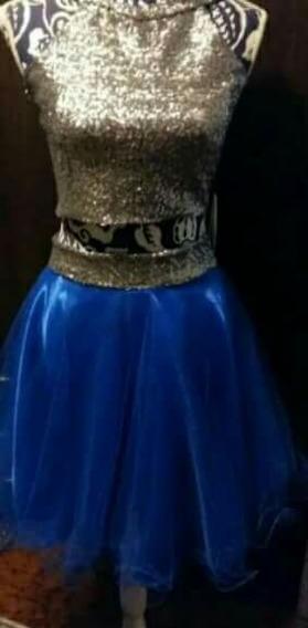 Vestido Azul Con Dorado Con Top Para Fiestas De 15 Años