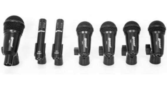 Kit Microfones De Bateria Profissional C/ Clamps + Case