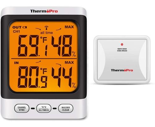 Imagen 1 de 8 de Termómetro Higrómetro Dual Interior Exterior Thermopro Tp-62