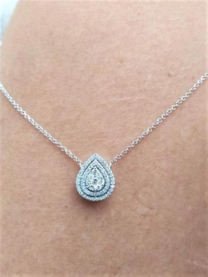 Colar Em Ouro Branco 18k Com Pingente Gota De Diamantes