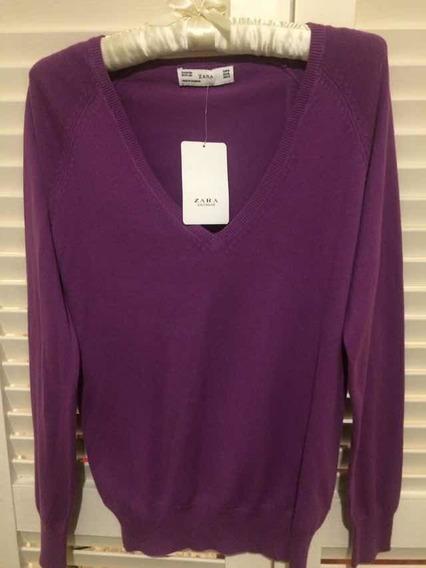 Sweater Zara Para Dama Color Borgoña Xl