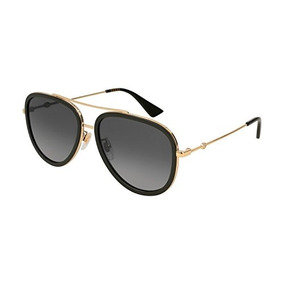 8403015bd2 Gucci Gg 0062s 011 Black Gold Metal Aviator Sunglasses Grey