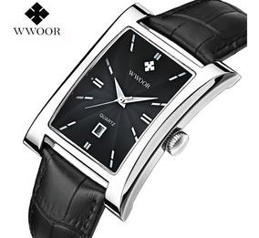 Relógio Quadrado Masculino Wwoor Luxo Couro Gold Preto 8017