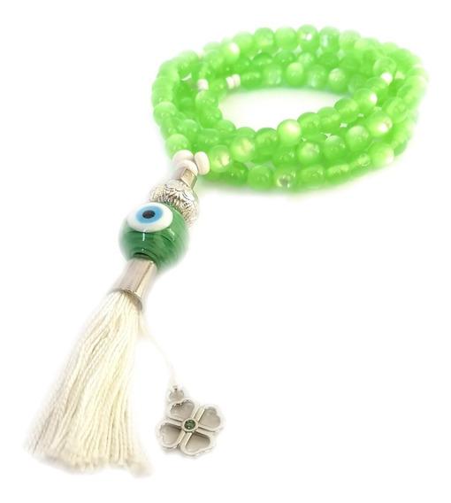 Japamala Budista Ho´oponopono 108 Contas Olho De Gato Verde