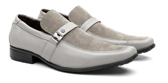 Sapato Social Masculino Couro Fivela Com Camurça Conforto