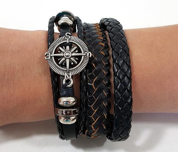 Pulseira Friendship Bracelets Em Couro Bússola