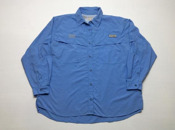 Camisa Columbia Pesca Pfg Trekking Outdoor Usa Mujer Talle L
