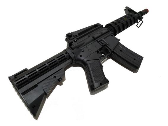 Metralhadora Fuzil M16 Som E Luz Militar Arma 49 Cm Soldado