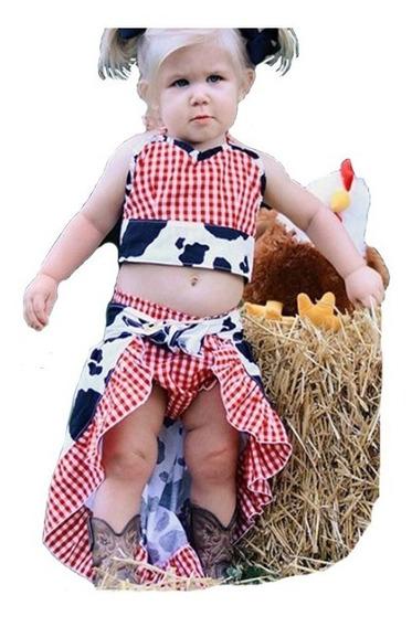 Fantasia P/ Bebês Cowgirl Vaqueira Country C/ 4 Peças + Anel