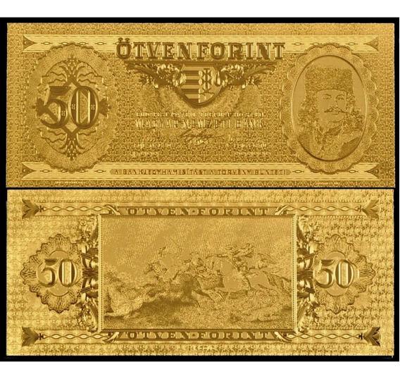 Hungría Billete De 50 Forint Bañado En Oro 24k