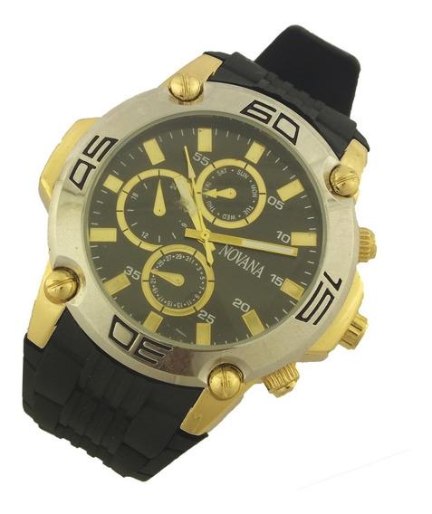 Relógio Masculino Novana Analógico Pulseira Borracha B5729