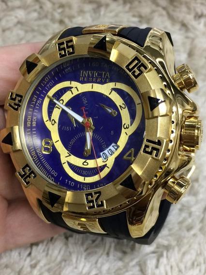Relógio Masculino Pulseira Preta Fundo Azul