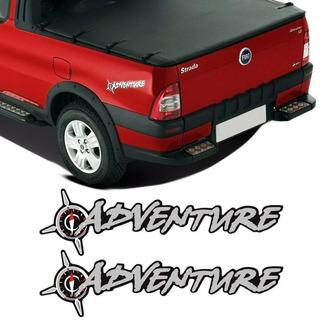 Kit Par Adesivo Emblema Adventure Fiat Strada Palio Doblo