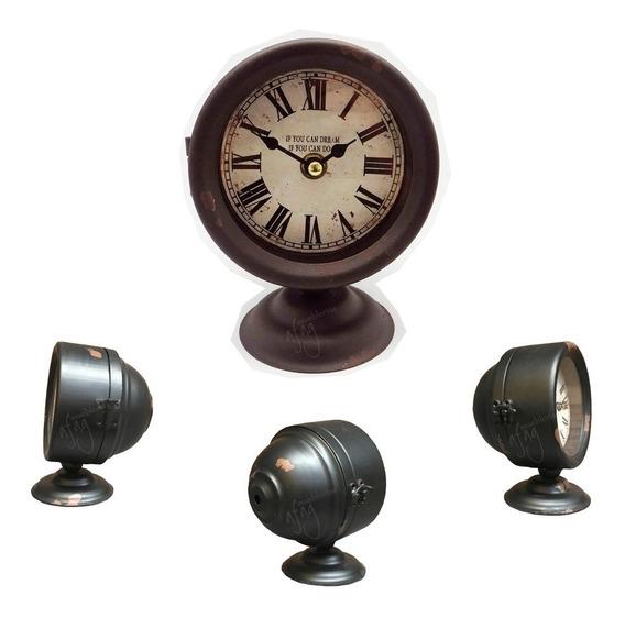 Reloj De Mesa Faro De Luz Auto Viejo Antiguo Vintage Buró