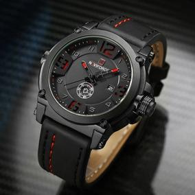 Relógio Masculino Social Inox Pulseira Couro Quartzo Nf-9099