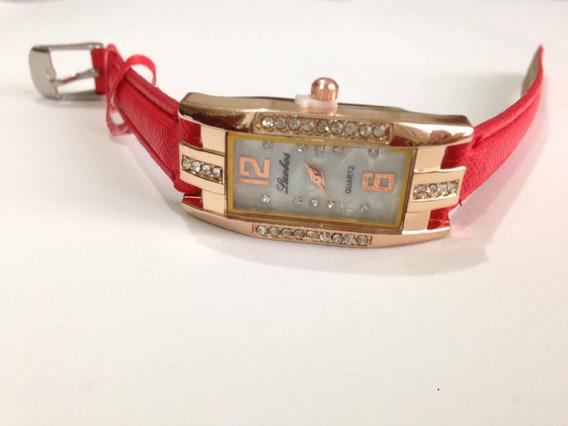 Relógio Feminino Promoção Barato Rosé Com Pedra Couro