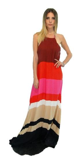 Vestido Largo Rayado Horizontal Cinthia Nuevo 2