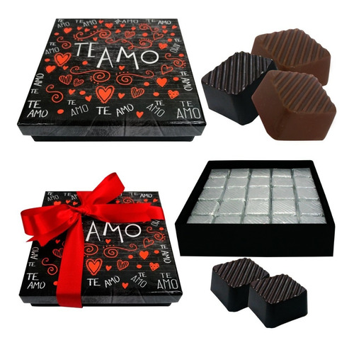 Imagen 1 de 6 de Caja C/25 Chocolates Artesanales-gourmet. Te Amo