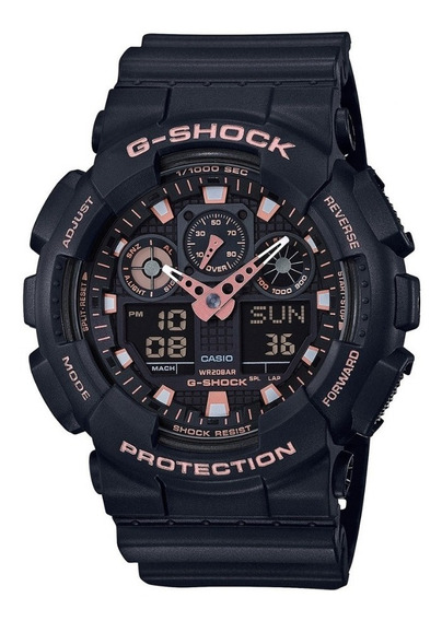 Relogio G-shock Masculino Preto E Rose Digital E Analógico