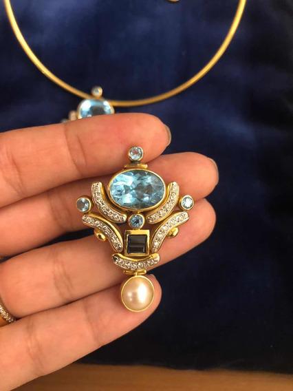 Conjunto Em Ouro Nobre E Pedras Preciosas