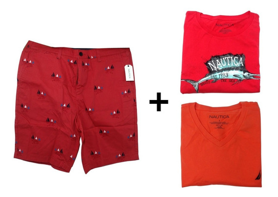 Combo Com 3 Peças Nautica 2 Camisas E 1 Bermuda Tamanho G