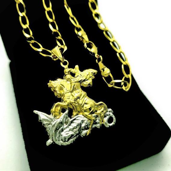 Corrente Grumet Pingente São Jorge 70cm Banh Ouro 4731a 3521