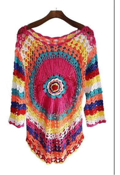 Moda Praia Feminino Saida De Praia Colorida Em Crochet