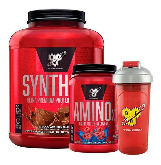 Syntha 6 5lb + Amino X 2,23lb + Vaso Mezclador Bsn