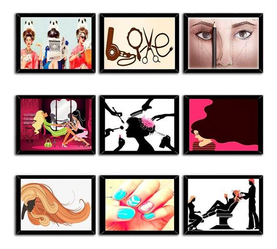 4 Placas Decorativas Quadrinhos Salão De Beleza Estetica Art