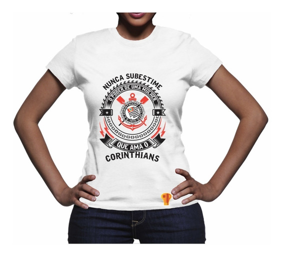 Camiseta Corinthians Ama Futebol Feminina T Shirt Brusinha