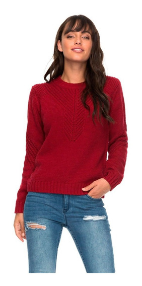 Suéter Dama Cuello Redondo Manga Larg Bordado Acanalado Roxy