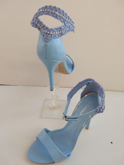 Sandália Di Cristalli Salto Fino Renda Azul
