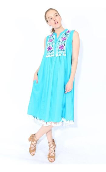 Village Venture-vestido Con Bordado Floral En Escote 4113ve