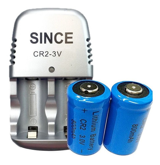2 Baterias Cr2 800 Mah 3v Recarregável + 1 Carregador