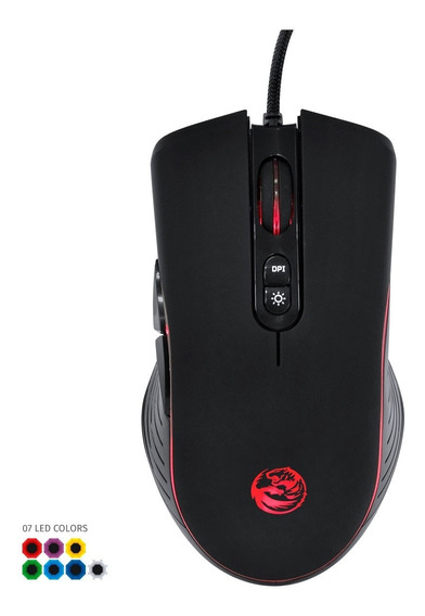 Mouse Gamer Usb Ma7 4000 Dpi Sensor Avago 3050 Led 7 Cores