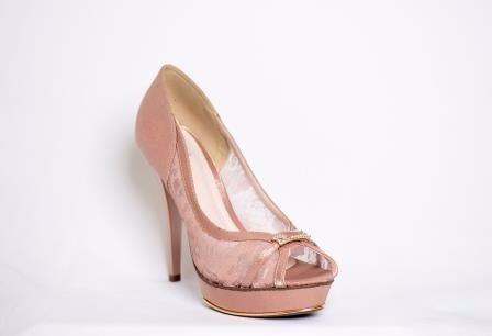 Sapato Feminino Para Festa 3702 Renda Florença Rosê
