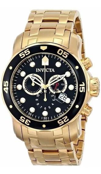 Relogio Invicta Masculino Pro Diver Scuba 0072 - Ouro 18 K