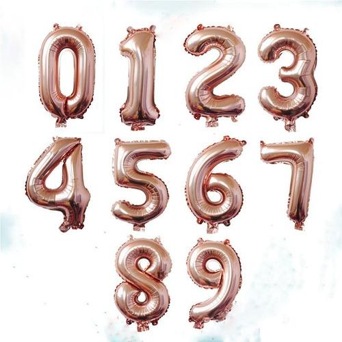 Globos Metalizados De Números Oro Rosa 40cm