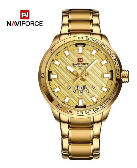 Relógio Masculino Social Homem Moderno Estiloso Analógico Com Calendário Aço Inoxidável Folheado Dourado Cor Não Sai