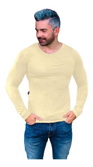 Camiseta Básica Gola V Rasa Masculina Viscolycra Manga Longa