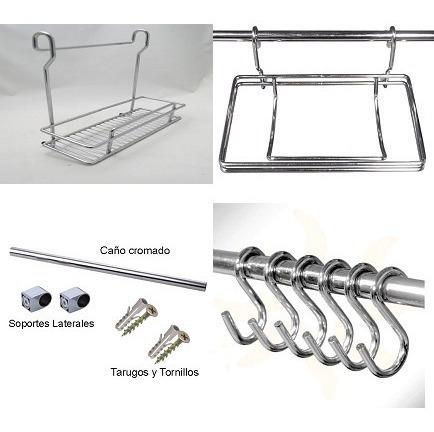 Kit Organizador Barral + Especiero + Portarollo + Ganchos