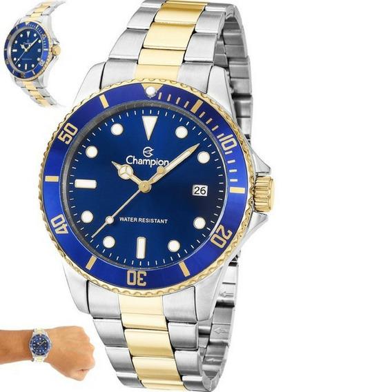 Relógio Champion Masculino Dourado Prata Azul Original