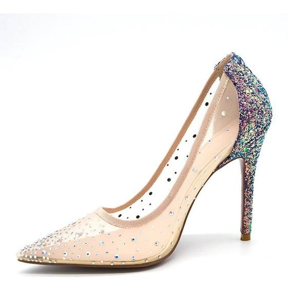 Sapato Scapins Transparente C/ Pedraria Festa /casamentos 10cm