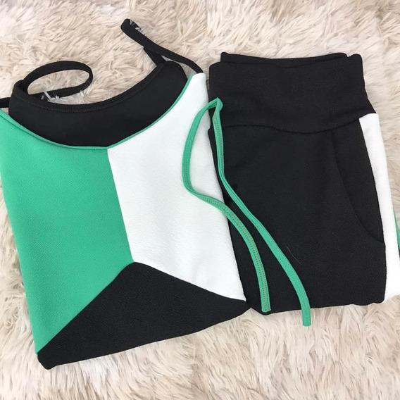 Conjunto Camiseta Regata Alça E Shorts Cores Crepe Verao M