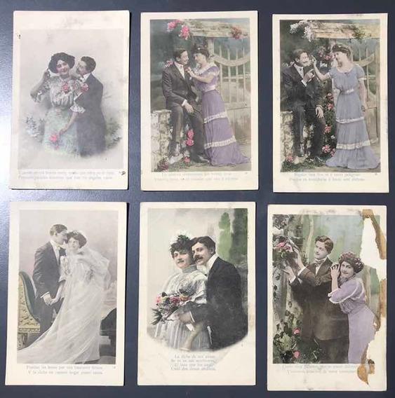 Lote De 6 Postales Romanticas Color Numeradas Antiguas 1930