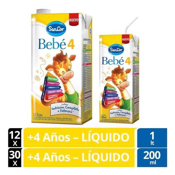 Sancor Bebe 4 Leche Líquida Combo 200ml X30u. + 1lt X 12u.